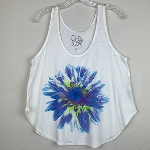 NWOT Chaser Large Single Flower Graphic Tank